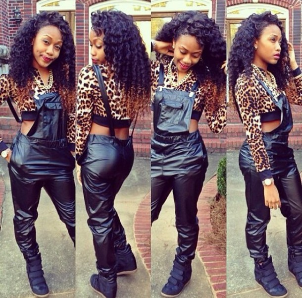 pants leather overalls gold chain leopard print shoes skirt shirt