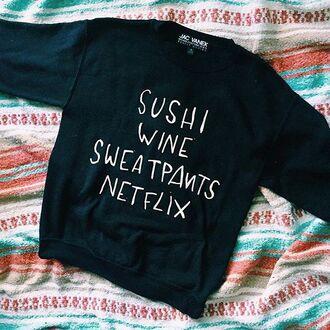 sweater jac vanek peppermayo sushi wine funny logo quote on it netflix