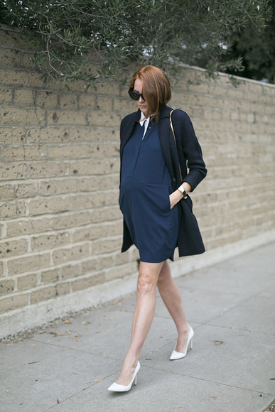blogger bag jewels sunglasses jacket could i have that blouse maternity dress maternity high heels navy