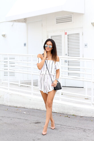 the material girl blogger romper sunglasses shoes bag jewels