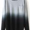 Black dip hem ombre pocket sweater -shein(sheinside)