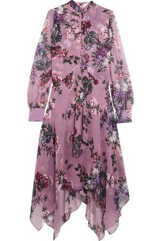 dress midi dress chiffon midi floral print silk purple