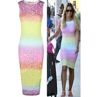 dress bodycon leopard print ombre pink yellow blue green purple