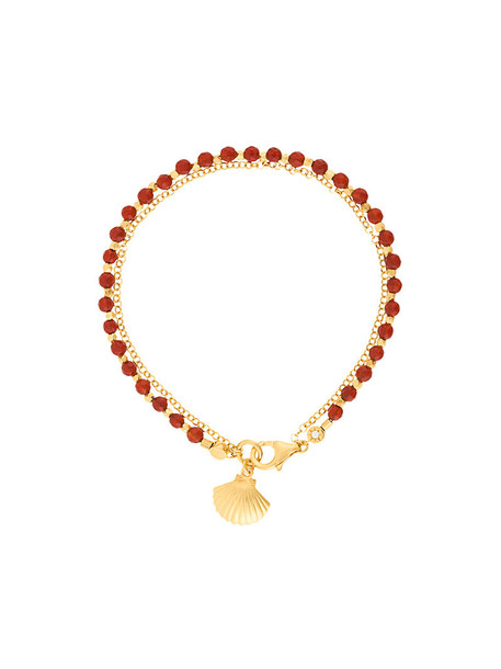 women shell gold red jewels