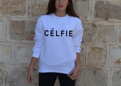 Celfie sweatshirtt inspired selfie celine parody tshirt women vogue hipster t shirt brandy melville tumblr sweater xs s m l xl  · celebritee · online store powered by storenvy