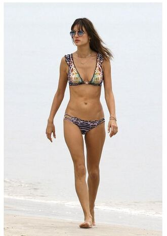 swimwear bikini bikini top bikini bottoms alessandra ambrosio model off-duty beach