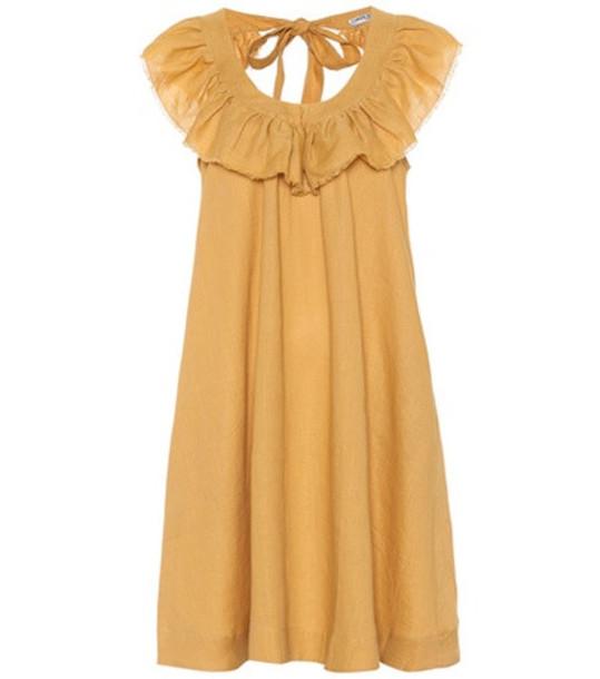 Three Graces London Faye linen minidress in yellow