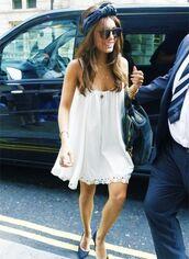 dress,vanessa hudgens,white dress,sunglasses,hat,jewels