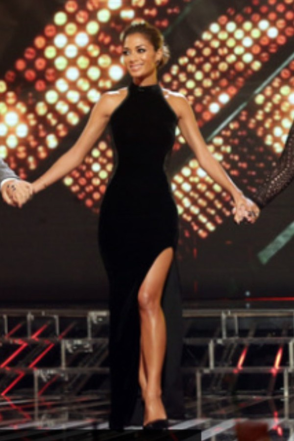 dress black dress maxi dress neckline slit nicole scherzinger