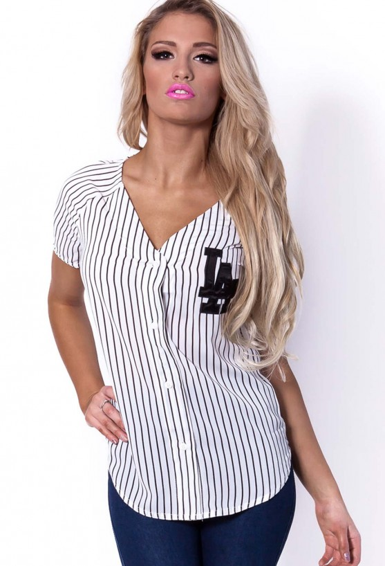 Base Black and White Striped LA Baseball Shirt  | Pink Boutique
