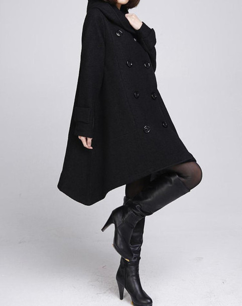 coat cloak coat wool coat wool coat with cape