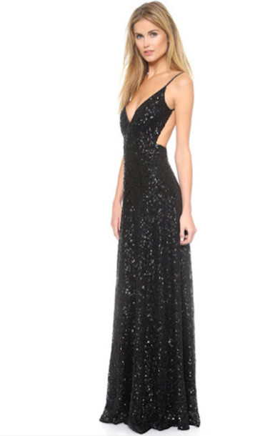Dress Black Sexy Dress Sequins Sparkle Spaghetti Strap Long