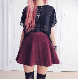 clothes skirt pink hair overkneesocks pastel goth coral hair necklace silver black top black velvet velvet skirt mini skirt red skirt mesh top goth hipster casual hipster thigh highs top underwear