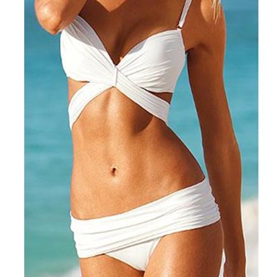 Work design solid white bikini