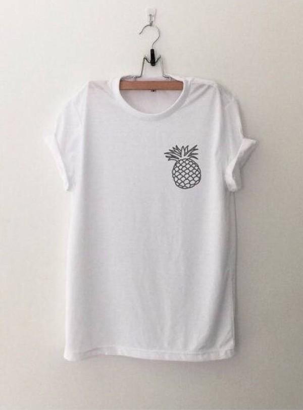 shirt t-shirt white t-shirt pineapple pineapple shirt