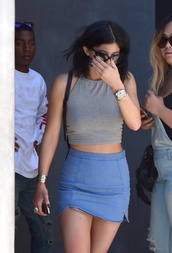 skirt,kylie jenner,blouse,blue skirt,grey crop top,jewels,mini skirt,denim skirt,mini denim skirt