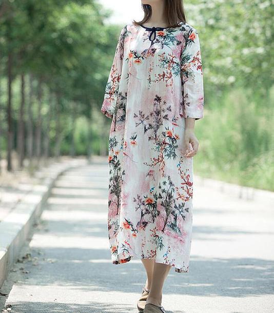 dress maxi dress round collar dress