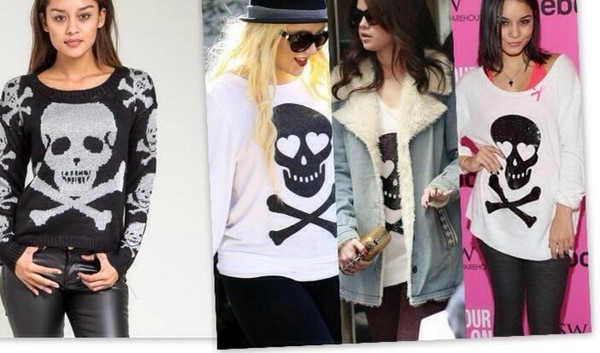 top sweater skull sweater skull t-shirt shirt bones celebrity style fashion black bikini
