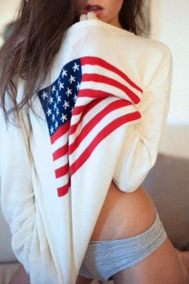 girl american flag america usa cute sweater awesome united states flag america sweater united states