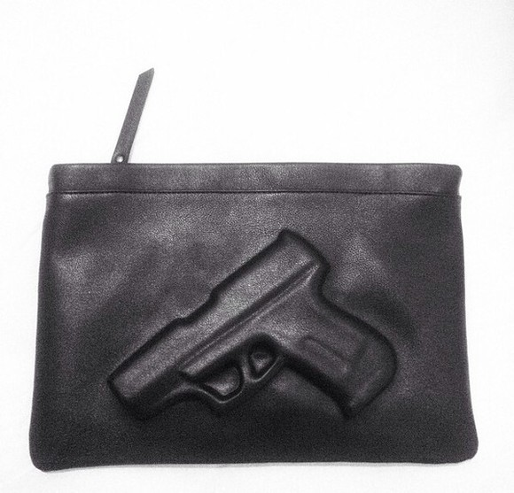 bag gun leather thug urban street 3d black leather purse rare girly night