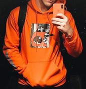 sweater,ethan dolan,orange,hoodie,photos,graphic sweater,graphic sweatshirt,ethandolan,sweatshirt,streetstyle,urban,edgy