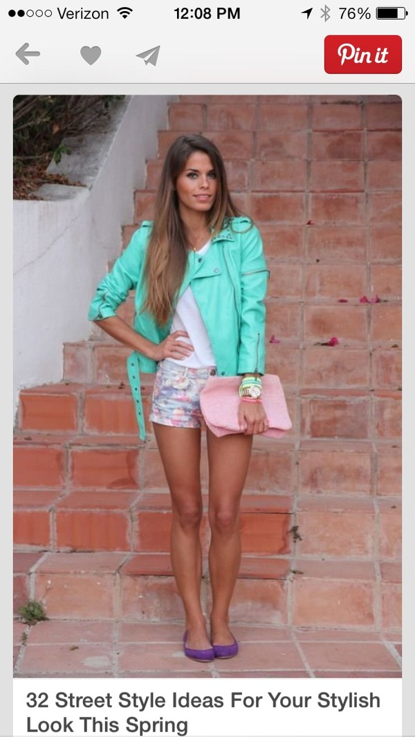 jacket teal shirt shorts