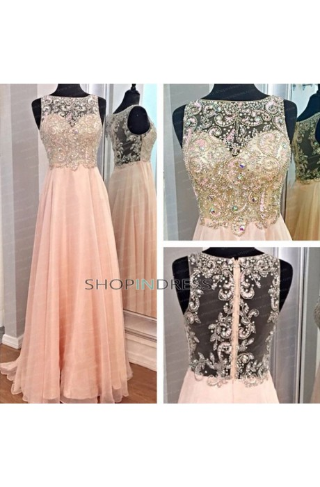 Line sweetheart floor length chiffon pink prom dress with appliques npd098024 sale at shopindress.com