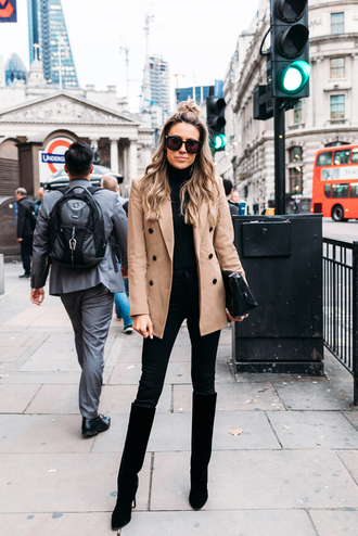 hello fashion blogger shoes bag sunglasses jacket fall outfits boots knee high boots