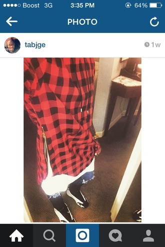 top red flannel plaid retro swag flee jordan denim sweater shoes