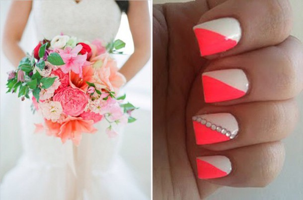 nail polish cream and pink