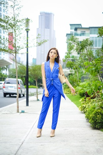 kryzuy blogger jumpsuit blue nude high heels