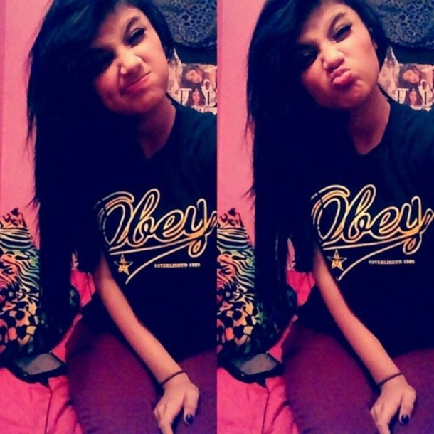shirt gold black obey