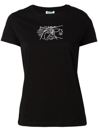 t-shirt shirt embroidered women cotton black top