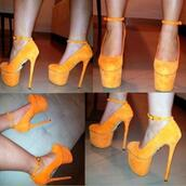 shoes,orange,heels,high heels,platform heels