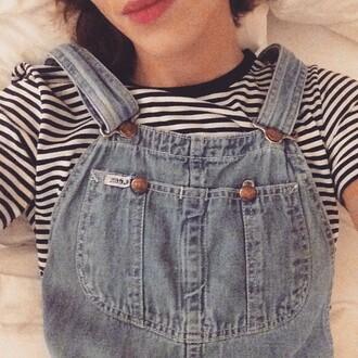 alexa chung denim dungarees stripe overalls t-shirt