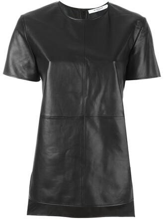 t-shirt shirt leather black top