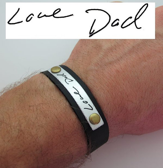 Fathers Day Gift Mens Personalized Leather Bracelet