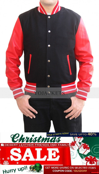 jacket letterman red black new item soft cool awsome christmas