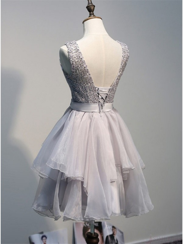37c7fcf988b Back Up Lace Short Gray Homecoming Dresses For Girls