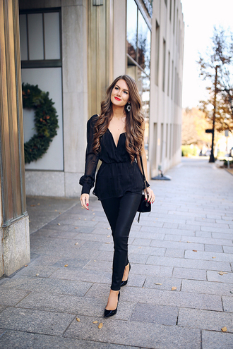 southern curls and pearls blogger jeans top bag jewels shoes make-up fall outfits pumps shoulder bag black blouse black pants