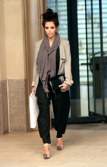 pants kim kardashian harem sweater scarf shoes jacket black kardashians high heels shirt fancy pants
