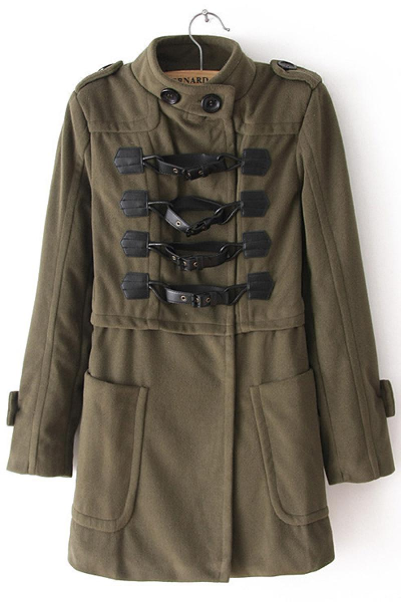 Army Green Double-breasted Woolen Slim Overcoat,Cheap in Wendybox.com