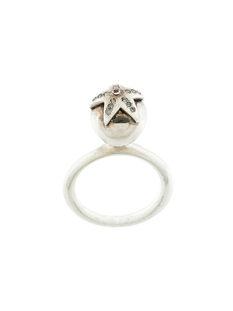 Rosa Maria women ring grey metallic jewels