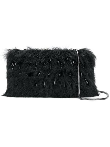 fur faux fur women clutch black bag