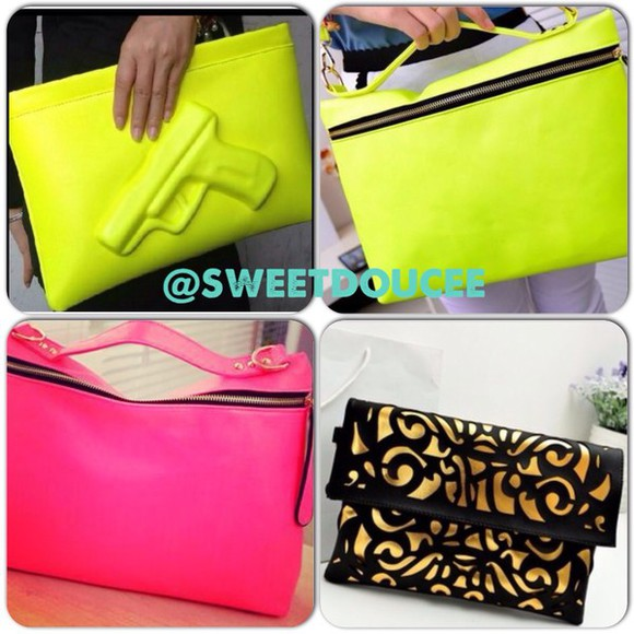guns and roses bag green neon pink tote bag clutch celebrity style fashion streetwear clubwear vintage instagram