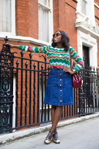i want you to know blogger sweater skirt bag shoes sunglasses denim skirt