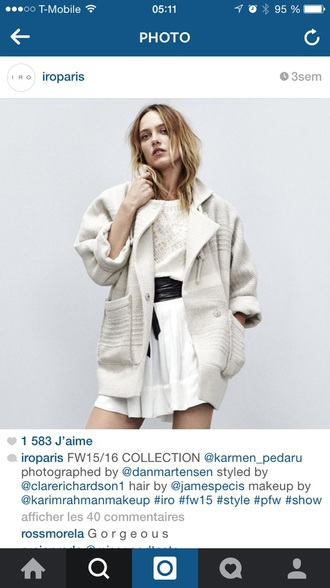 coat iro style fashion creme off-white