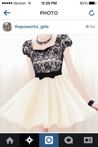 dress black lace top princess sleeves white skirt white all over