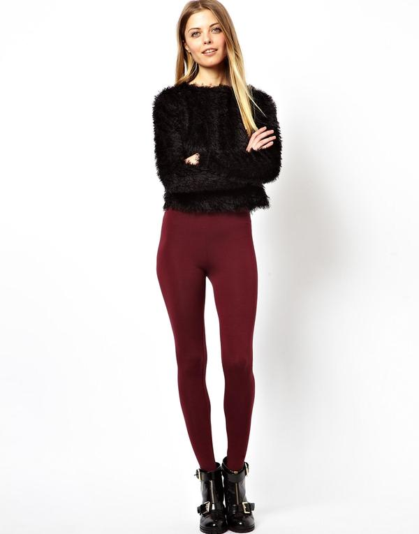 Leggings largos elásticos estilo fuseau granate - Woman - Clothing - Habbage