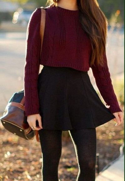 burgundy sweater top cropped sweater